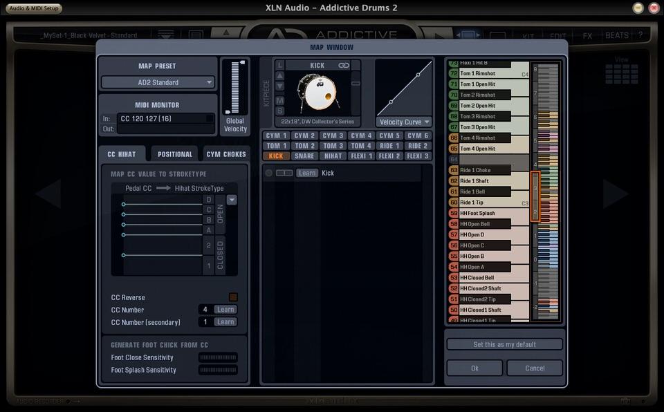 Addictive Drums2のキーマップ画面