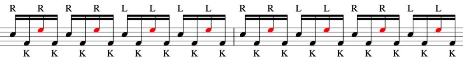 バスドラムの練習方法。練習パッドを2個使う。