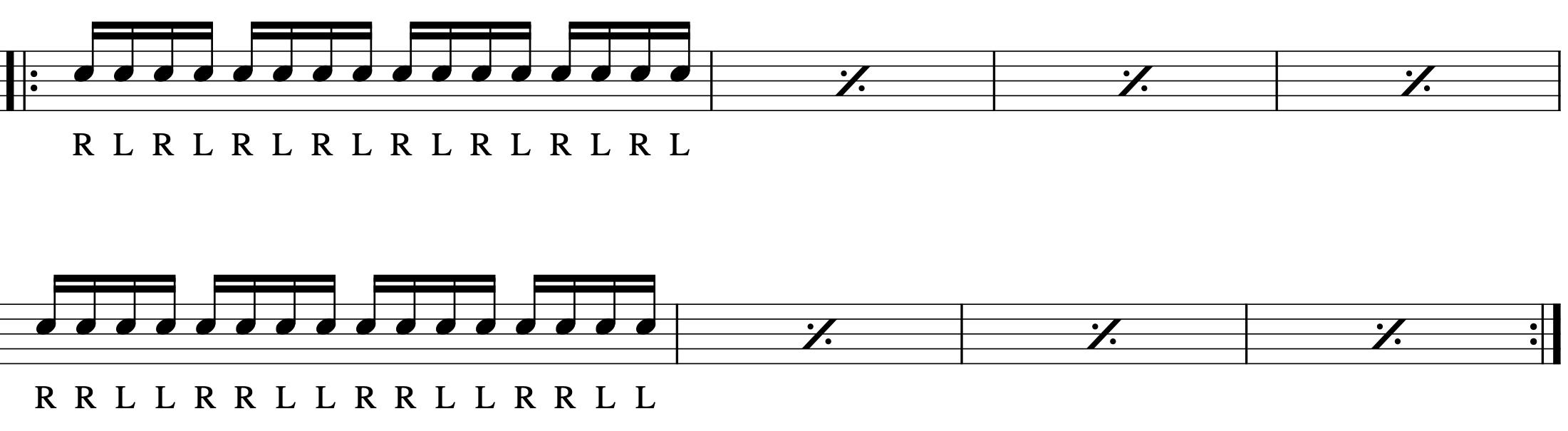 ダブルストロークの練習パターン-2